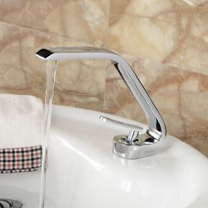 Modern Electroplating Silver Single Handle Sink Faucet