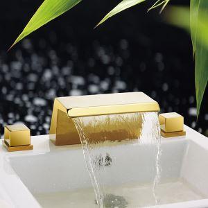 Vintage Ti-PVD Bathtub Faucet 3 Holes 2 Handles