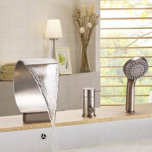 Modern Nickel Bathtub Faucet with Hand Shower 3 Holes Installation