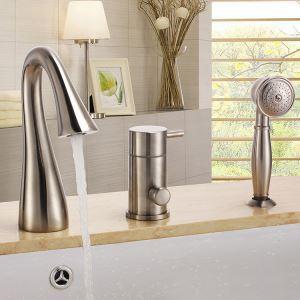 Modern Nickel Bathtub Faucet with Hand Shower 3 Holes Installation