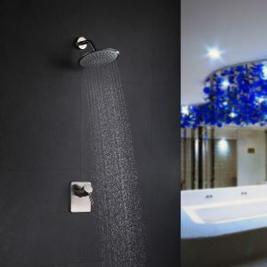 Modern Nickel Wall Mounted Shower Faucet 2 Holes Installation