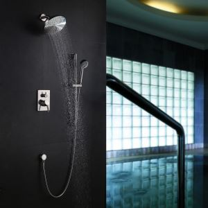 Modern Nickel Wall Mounted Shower Faucet 4 Holes Installation