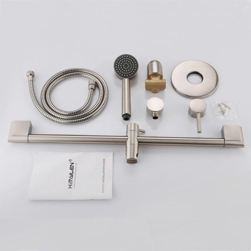 Wall Mount Bathroom Faucet Installation : ... - Modern Nickel Wall Mounted Shower Faucet 2 Holes Installation