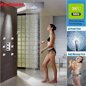 Shower Faucet Contemporary Thermostatic / Rain Shower / Sidespray / Handshower Included Brass Chrome
