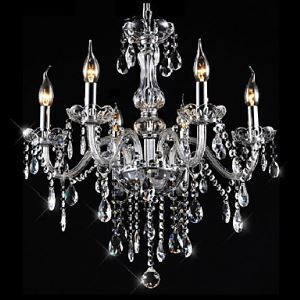 Chandeliers 6 Lights Silver Vintage  in Crystal Feature