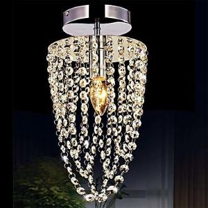 1-Light Chrome Modern K9 Transparent Crystal Chandelier with 1 LED Bulb Ceiling Lights