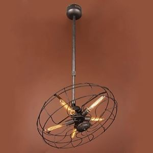 Traditional vintage industrial fan chandelier lamp in the retro style