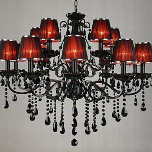 Chandeliers Crystal Modern  Contemporary Living Room Crystal   15 Light Red