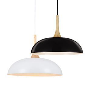 Mini Artistic Pendant Lamp 1 Light Modern Simplicity Black Chandelier White  Finish Aluminum Wooden Droplight