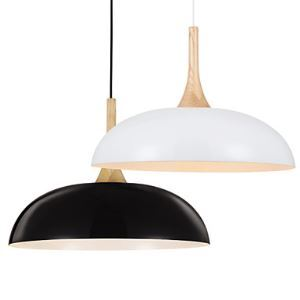 Mini Artistic Pendant Lamp  1 Light  Modern Simplicity Black Chandelier  White  Finish Aluminum & Wooden Droplight