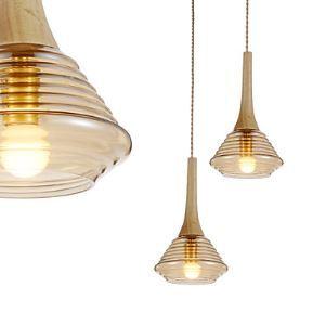 Mini Artistic Pendant Lamp  1 Light  Modern Simplicity  Amber  Finish Glass & Wooden Droplight