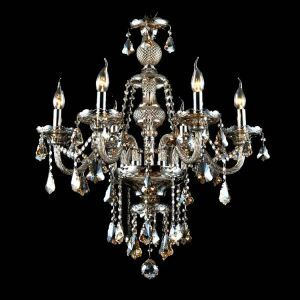 (In Stock)Chandelier   Cognac Color Crystal Modern 6 Lights  Contemporary Living Room  Bedroom  Dining Room Lighting Ideas  Office Glass Ceiling Lights