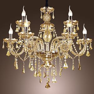 (In Stock)Ceiling Lights Chandelier Crystal Cognac Color Luxury Modern 2 Tiers Living 9 Lights
