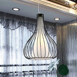 Modern Gourd Black Metal Pendant with One Light Black Chandelier