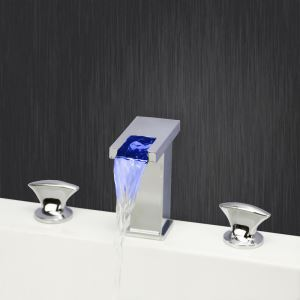 Modern Chrome Waterfall LED Sink Faucet