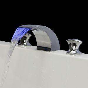 Modern LED Chrome Waterfall Sink Faucet