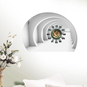 Modern Simple Creative 3D Four-dimension Space Mute Wall Clock with Wall Sticker