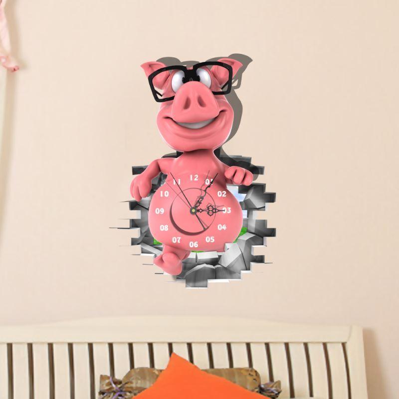 Modern Simple Creative 3D Cute Little Pig Wall Clock with Wall Sticker