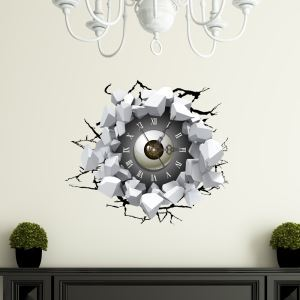 Modern Simple Creative 3D Eyes Mute Wall Clock with Wall Sticker