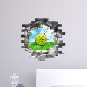 Modern Simple Creative 3D Blue Sky Green Grass Mute Wall Clock with Wall Sticker