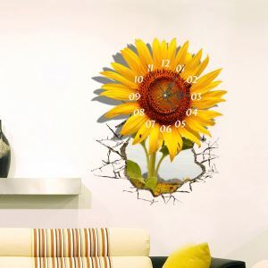 Modern Simple Creative 3D Sunflower Mute Wall Clock with Wall Sticker