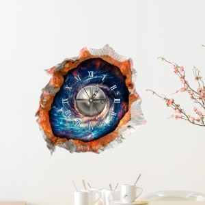 Modern Simple Creative 3D Universe Mute Wall Clock with Wall Sticker