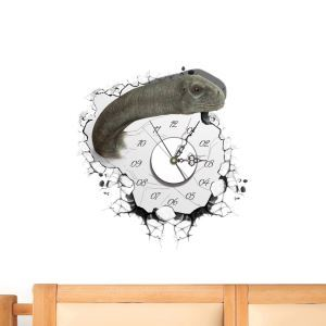 Modern Simple Creative 3D Dinosaur Mute Wall Clock with Wall Sticker