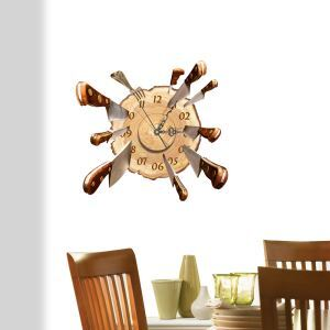 Modern Simple Creative 3D Knife and Target Mute Wall Clock with Wall Sticker