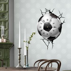 Modern Simple Creative 3D Football Mute Wall Clock with Wall Sticker