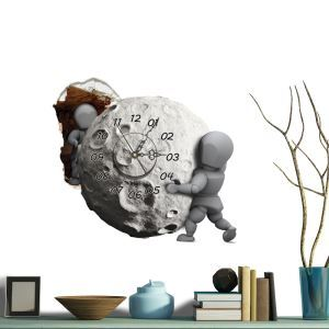 Modern Simple Creative 3D Meteorite Mute Wall Clock with Wall Sticker