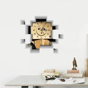 Modern Simple Creative 3D Mute Wall Clock with Wall Sticker
