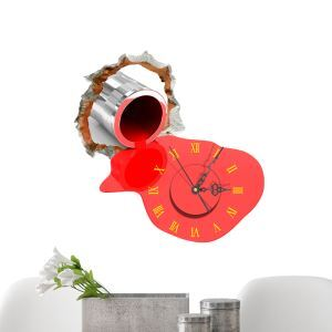 Modern Simple Creative 3D Red Paint Mute Wall Clock with Wall Sticker