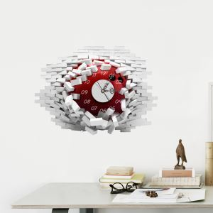Modern Simple Creative 3D Hole-in-the-wall Mute Wall Clock with Wall Sticker