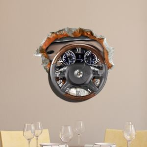 Modern Simple Creative 3D Steering Wheel Mute Wall Clock with Wall Sticker