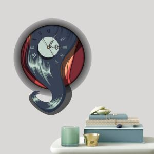 Modern Simple Creative 3D Abstraction Mute Wall Clock with Wall Sticker