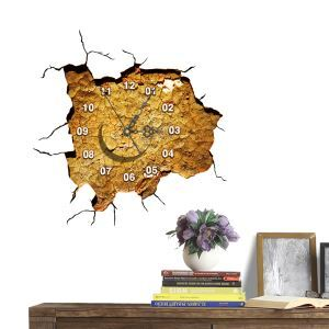 Modern Simple Creative 3D The Scroll Marked Mute Wall Clock with Wall Sticker
