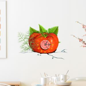 Modern Simple Creative 3D Tomato Mute Wall Clock with Wall Sticker