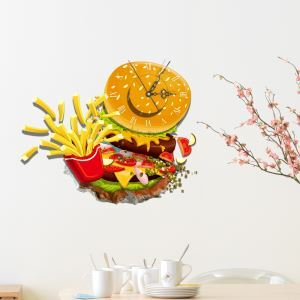 Modern Simple Creative 3D Gourmet Mute Wall Clock with Wall Sticker