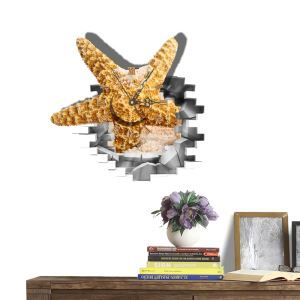 Modern Simple Creative 3D Starfish Mute Wall Clock with Wall Sticker