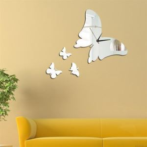 Mirror Butterfly Acrylic Mute Wall Clock