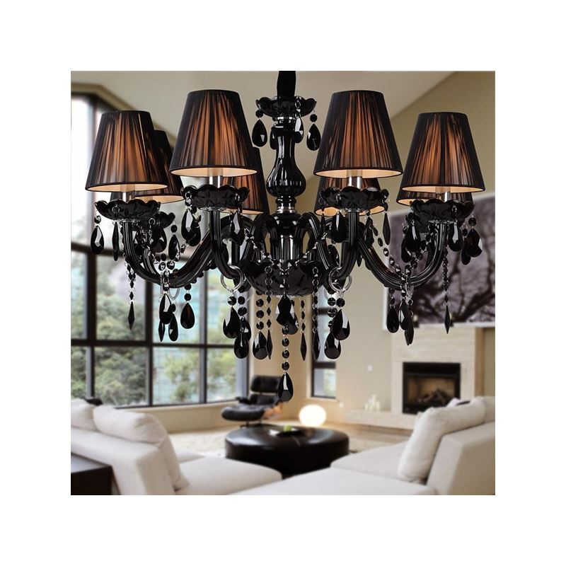 Black Crystal Chandelier with 8 Lights – Modern Black Chandelier