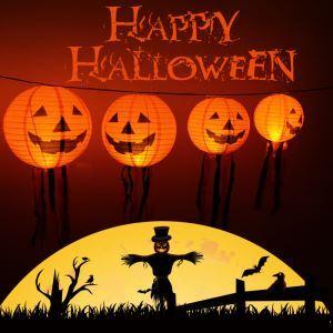 Halloween Pumpkin Lantern Scene Layout Paper Lamp  Halloween Holiday Decor Halloween Gifts