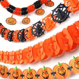 Halloween Skull Spider Pumpkin Garland 4 Pieces Set Halloween Holiday Decor Halloween Gifts