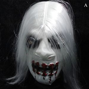 Halloween Ghost Mask with White Hair Trick Toy Head Cover Halloween Holiday Decor Halloween Gifts