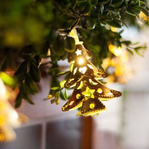 Christmas Metal Christmas Tree LED Colorful Flash Lights Golden Christmas Holiday Decor Christmas Gifts