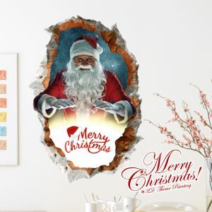 Creative Christmas 3D Santa Claus Wall Sticker Christmas Holiday Decor Christmas Gifts