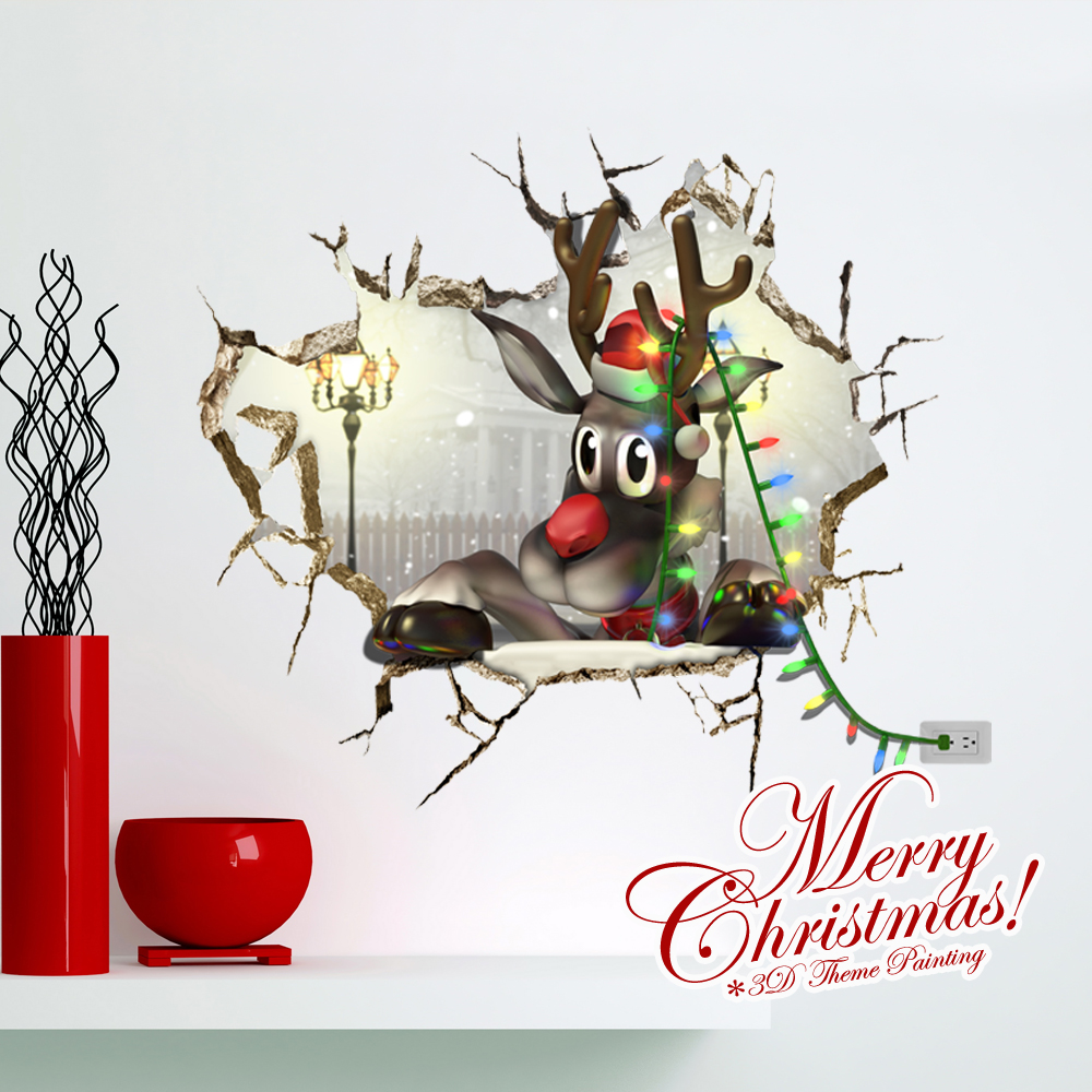 Home decor wall art wall stickers 3d wall stickers home decor wall art wall stickers 3d wall stickers creative christmas 3d cute reindeer wall sticker christmas holiday decor christmas gifts amipublicfo Image collections