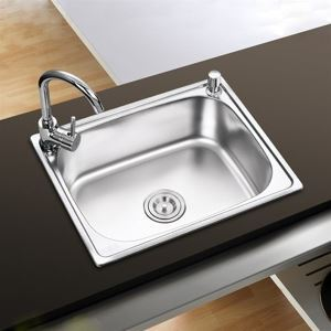 Kitchen Sink Single Bowl # 304 Stainless Steel Sink Topmount Sink  S5040 20in Silver (Faucet Not Included)