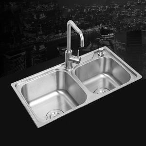 Kitchen Sink 2 Bath Sink # 304 Stainless Steel Sink Undermount   AOM6939 Silver (Faucet Not Included)