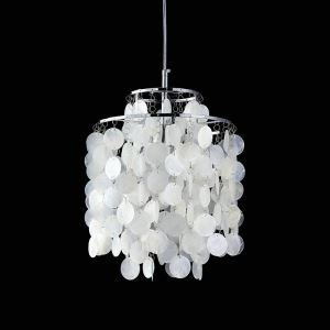 (In Stock)Ceiling Lights Mini White Shell Pendant Chandelier (Chrome Finish)